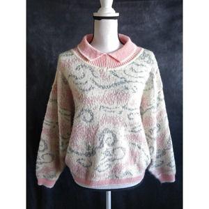 Vintage Wool Pink White Peter Pan Collar Sweater M